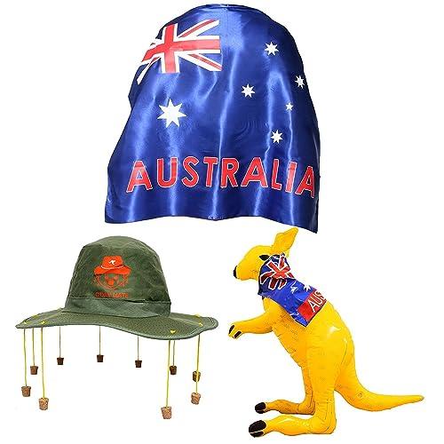 a9cbed0b1b8 AUSTRALIA DAY FANCY DRESS SET LARGE WEARABLE SATIN AUSSIE FLAG CAPE + CORK  HAT WITH KOALA