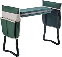 Fitnessclub Deep Seat Garden Kneeler and Seat-FoldingGarden Kneeler with 2 Ex-Large Tool Pouches-Gardener Foldable Bench Stool with Kneeling Pad Cushion-Gardening Bench