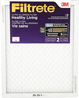 Filtrete UR03-2PK-6E 20x25x1, AC Furnace Air Filter, MPR 1500, Healthy Living Ultra Allergen, 2-Pack, 20 x 25 x 1, 2 Count