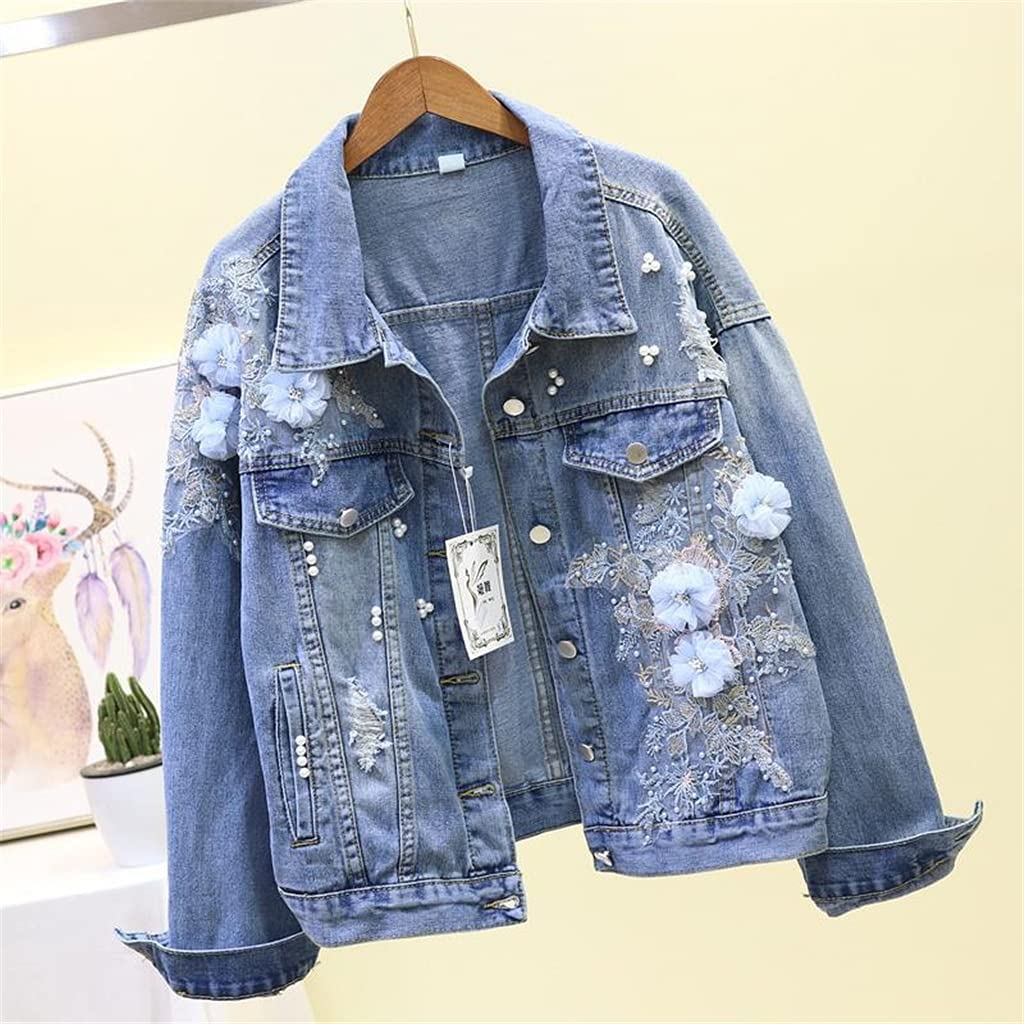 CDQYA Autumn Women Denim Jacket Embroidery Three-Dimensional Floral Jeans Jacket Beading Pearl Ripped Hole Bomber Outerwear (Color : Blue, Size : L Code)