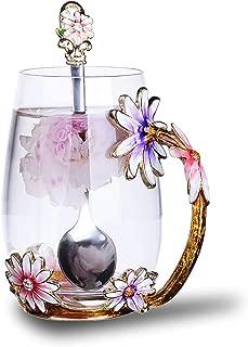 Flower Tea Cups,12oz Lead Free Handmade Glass Tea Cup Mug with Handle and Spoon, Unique Personalized Birthday Christmas Gift Ideas for Women Grandma Mom Teachers Friend(12oz/Pink)