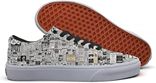 Newspaper Print Casual Shoes Canvas