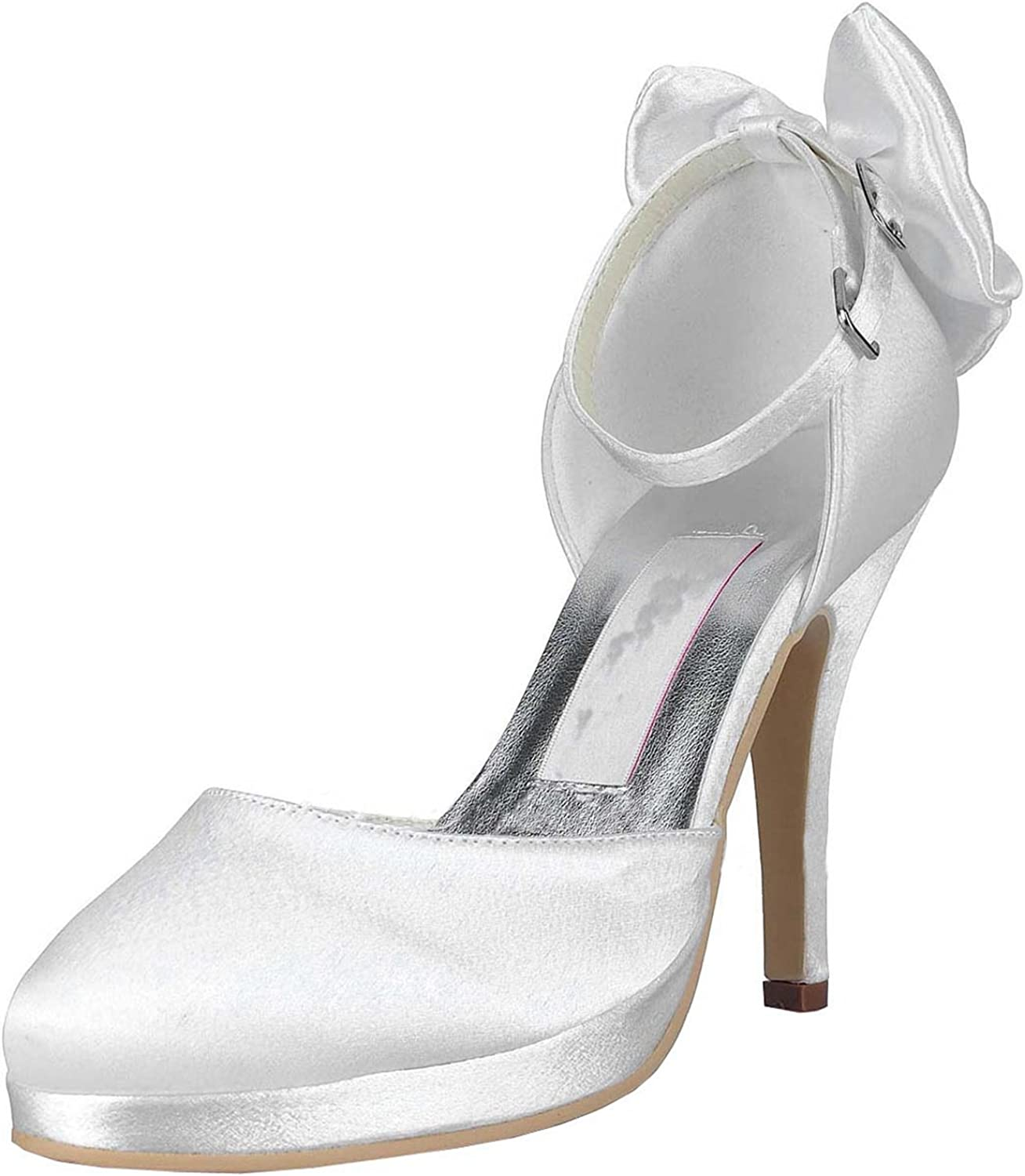 Minishion Womens MZ546 Round Toe Ankle Strap Ivory Satin Wedding Party Evening Prom Pumps shoes 11 M US