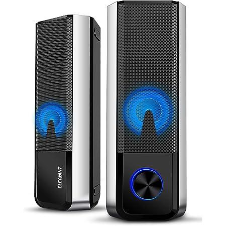 ELEGIANT Altavoces PC Sobremesa, 10W Altavoz Bluetooth 5.0, Barra de Sonido de Ordenador con Sistema Estéreo 2.0 Canales con 4 Modos de Luz LED Ajustables para Escritorio, Ordenador Portátil, Móvil