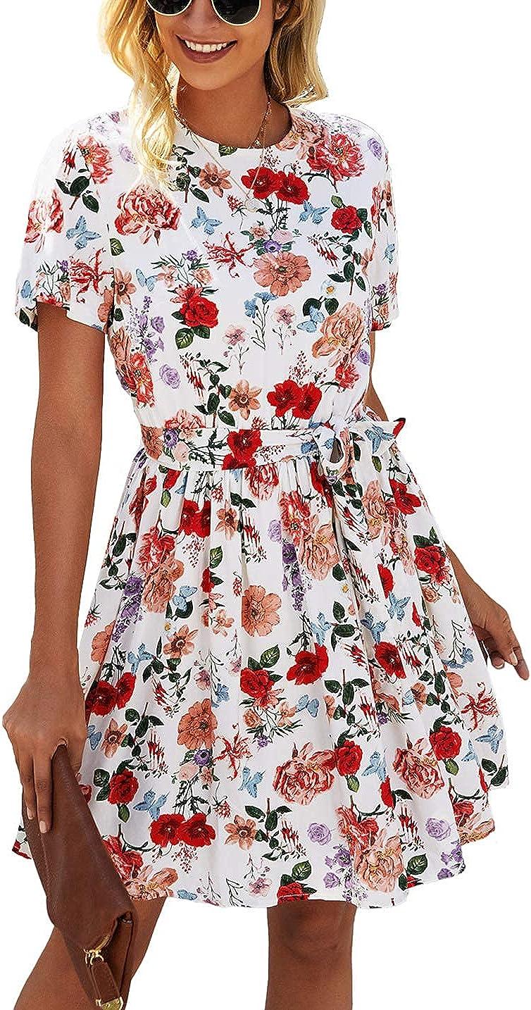 KIRUNDO 2021 Women's Summer Dress Short Sleeve Ruffle Flowy Floral Dress Casual Crewneck High Waist Mini Dress with Belt