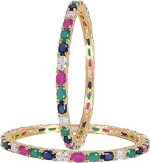 مجوهرات راتافالي تشيكوسلوفاكيا زركونيا ذهبية لهجة متعددة الماس الزفاف الهندي أساور بوليوود للنساء