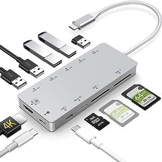 Woqatac USB Type C ハブ 11in1 USB C ハブ Type C ハブ USB C ドッキングステーション 4K HDMI出力 PD 充電対応 USB3.0 ハブ MicroSD/SDXC カードリーダー マイクロ タイプ...