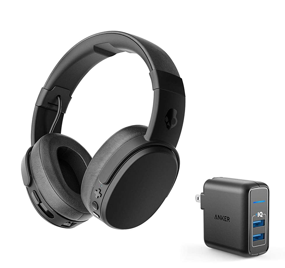 Skullcandy Crusher Wireless Bluetooth Over-Ear Headphone Bundle with Anker 2 Port USB Wall Charger - Black/Coral