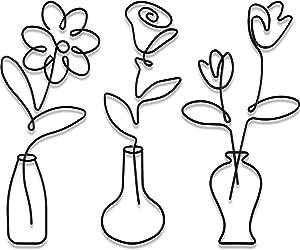 Hotop 3 Pieces Metal Flower Wall Decor Minimalist Metal Flower Decor Black Metal Vase Flowers Wall Art Boho Flower Wall Art Decor Metal Flower Hanging Decor for Bedroom Bathroom Kitchen Garden