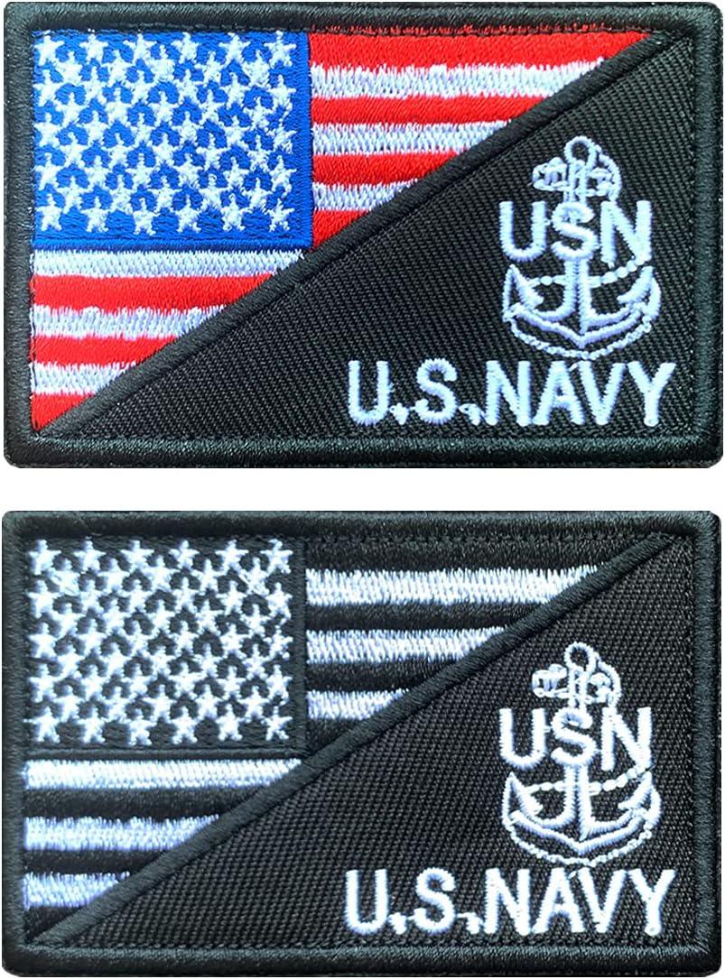 Antrix 2 Pcs USA Flag Max 88% OFF US Navy Tactical Anchor Army Emblem Ba sale USN