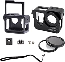 CJRSLRB C200 Aluminium Metal Skeleton Thick Solid Protective Case Shell with Rear Cover/Safety Buckle & 37mm UV Lens Filter for Gopro Hero 4 Camera