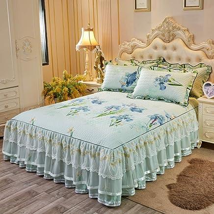 韓国語 プリンセス スタイル レース ベッドスカート, 氷の絹 ベッド 柔らかいマット 洗える ベッドカバー 3面カバレッジ 弾性 ベッド フリル-E 180x220cm
