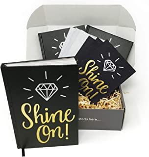 Shine On! Bullet Journal and Thank You Card Gift Kit by Appreciation in a Box – Set of 3 Dotted Grid Notebooks and Matching Cards with Envelopes