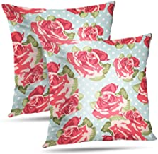 Pakaku Chic Pillowcase, Throw Pillow Covers, Green Floral with Bouquets Roses Vintage Pattern Cushion Cover Gift 2 Sided Pattern 20 x 20, Blue Green 06