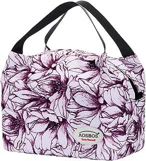 Aosbos Sac Isotherme Femmes Lunch Bag Partable Cabas Thermique pour Déjeuner 8,5L - Violet Fleurs