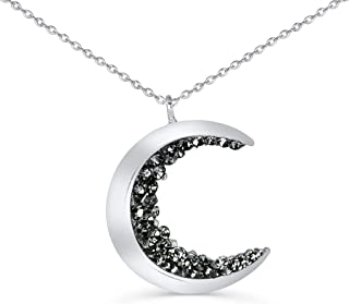 ONDAISY Black Cz Gypsy Planet Half Crescent Sailor Luna Moon Pendant Charm Chain Necklace