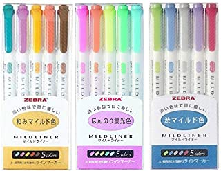 Zebra MILDLINER WKT7-5C (5-Color Set) / WKT7-5C-RC (5-Color Set) /WKT7-5C-NC (5-Color Set)3 pack