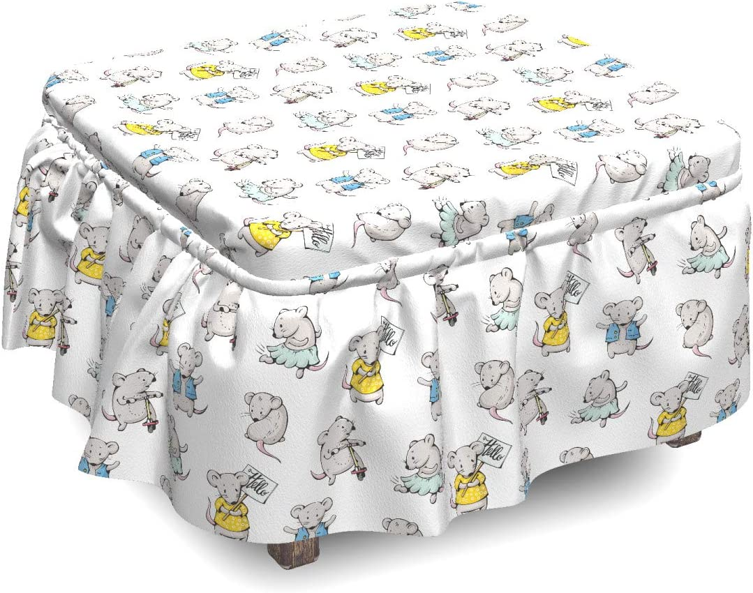 Lunarable Mice Ottoman Cover Colorful OFFicial Rare store 2 Characters Animal Piec