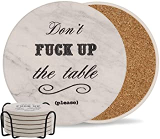 Coasters for Drinks   Absorbent Drink Coaster (6-Piece Set with Holder)   Housewarming Hostess Gifts, Man Cave House Warming Presents Decor, Wedding Registry, Living Room Decorations, Cool Gift Ideas