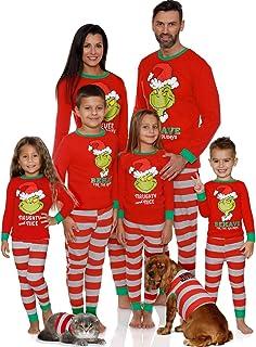Greetuny Matching Family Christmas Pyjamas Set 2020 Xmas Long Sleeve T-Shirt + Stripe Trousers Christmas Pjs for Dad,Mom,Kids