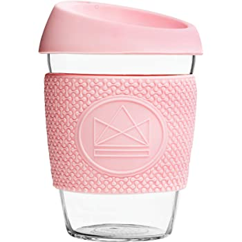 Neon Kactus Reusable Glass Coffee CupTravel Mug Pink Flamingo
