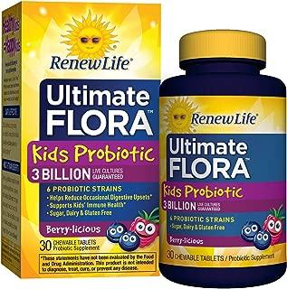 Renew Life Ultimate Flora儿童益生菌咀嚼片,30亿,浆果味,30片(30天供应量)