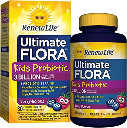 Renew Life Kids Probiotic - Ultimate Flora  Kids Probiotic, Shelf Stable Probiotic Supplement - 3 Billion - Berry Flavor, 30 Chewable Tablets (Packaging May Vary)