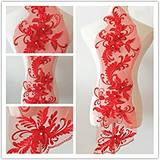 3D beaded flower sequence lace applique motif sewing bridal wedding 3in1 20cmx72cm (Red)