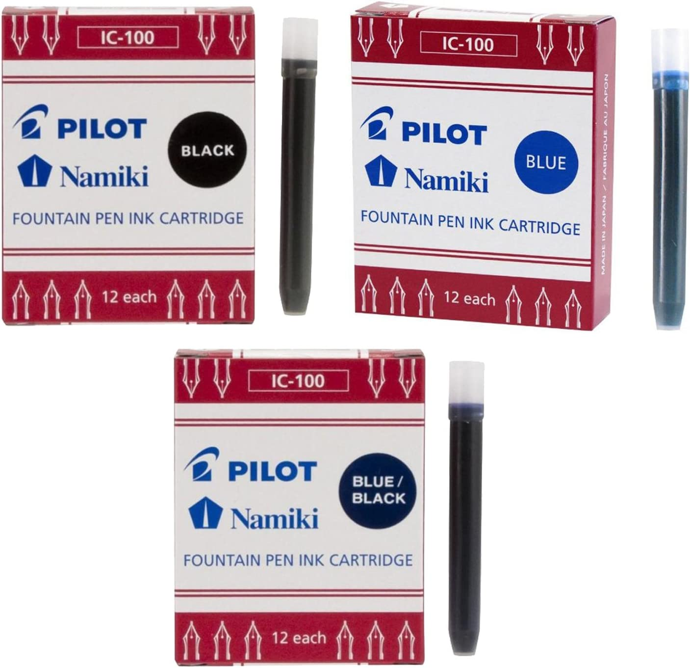 Pilot Save Very popular! money Namiki IC100 Fountain Pen Blue Ink Black Cartridge