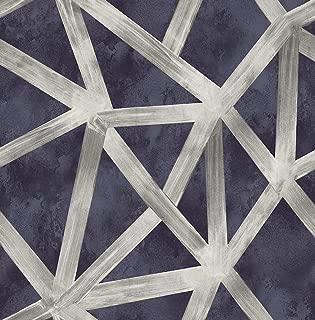 Navy Wallpaper Geometric Wallpaper Silver Wallpaper Striped Wallpaper Modern Wallpaper Abstract Wallpaper Metallic Wallpaper(Navy, Silver, Gray)