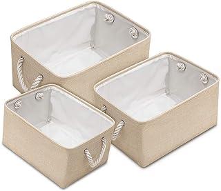 IWTTWY Paniers de Rangement Ouverts boîte de Rangement Pliable en Tissu de Lin épais avec poignées tissées pour Organisate...