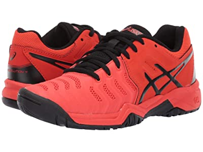 ASICS Kids GEL-Resolution(r) 7 GS Tennis (Little Kid/Big Kid) (Cherry Tomato/Black) Boys Shoes
