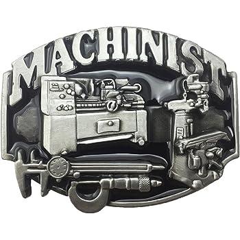 Lanxy Men's American Vintage Occupation Machinist 3D Metal Belt Buckle Black Enamel