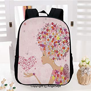 Kids School Backpack,Fashion Flowers Girl with Heart of Butterflies Wings Spring Theme Artistic Hand Drawn Nursery Room Decorations Classic,Plain Bookbag Travel Daypack,Multicolor