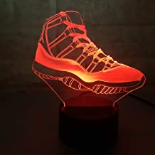 Sneakers 3D Lamp Table NightLight 7 Color Change Running Shoes LED Desk Light Touch Multicolored USB Power As Home Decoration Lights Tractor for Boys Kids (Touch) (Air Jordan 11)