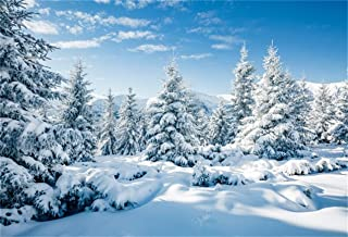 LFEEY 10x8ft Snow Covered Trees Background Snowy Landscape Photography Backdrop Winter Forest Pine Tree Fir Mountain Skiing Snowfield Photo Studio Props Christmas Holiday Travel New Year Vinyl Banner