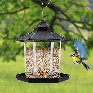 Hanging Panorama Wild Bird Feeder, Plastic Waterproof Bird Food Container for Garden Yard Outdoor Decoration (Black)