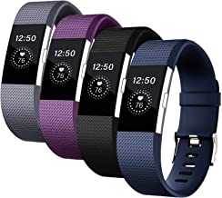 Fondenn Bands Compatible with Fitbit Charge 2 for Women and Men (4 Pack), Classic Adjustable Soft Silicone Sport Strap Rep...