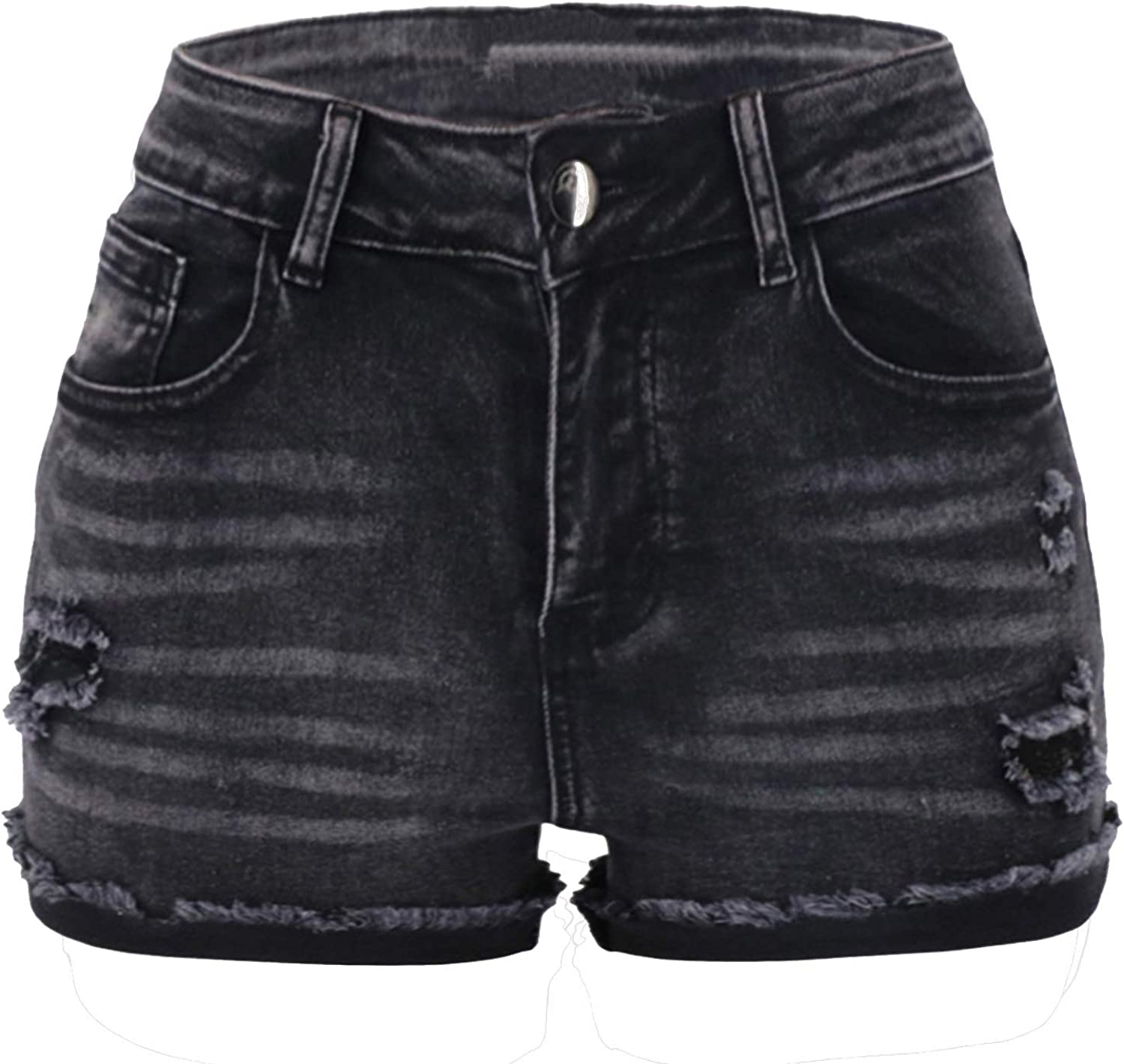 Atditama Women's Mid-Rise Ripped Denim Shorts Stretch Roll-up Leg Frayed Skinny Casual Summer Jeans