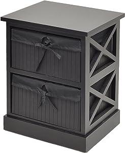 ts-ideen Dynamic24 Table de Chevet avec 2 paniers Noir 44 cm