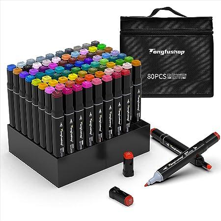 TongfuShop 80 Ensemble de marqueurs colorés, stylos Graffiti, ensemble de stylos marqueurs surligneur à double pointe, pour les étudiants
