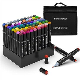 Tongfushop 80 Couleurs Marqueurs, Feutres Kit Double Pointe Stylo Marqueur d'Aquarelle, Crayon de Feutre Marker Créatif po...