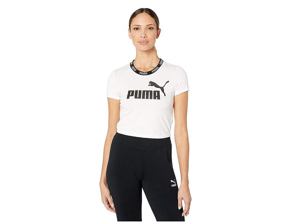 PUMA Amplified Logo Cropped Tee (PUMA White) Women