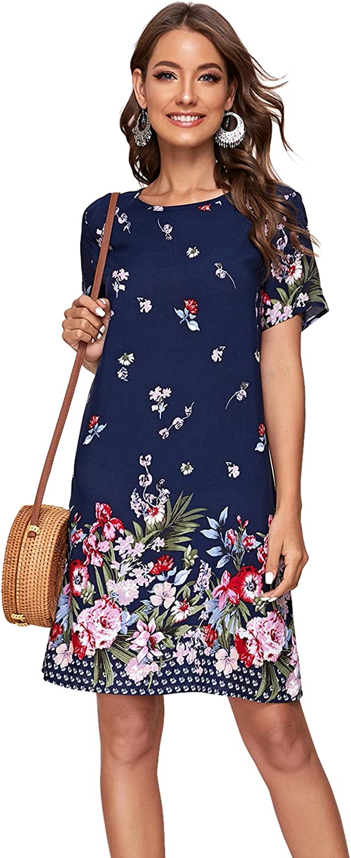 Romwe Women's Short Sleeve Floral Print Loose Casual Tunic Swing Summer Shirt Dress
