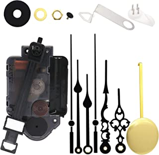 Youngtown 12888 Quartz Pendulum Clock Movement DIY Movement Kits with 2 Pairs Hands and Pendulum Total Shaft Length is 23.5mm (59/64 Inch)