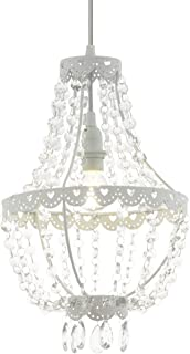 EGLO Lámpara colgante Barnaby 2, 1 candelabro vintage, retro, shabby chic, lámpara de techo de cristal y acero, lámpara de comedor, lámpara colgante en transparente, color blanco, casquillo E27