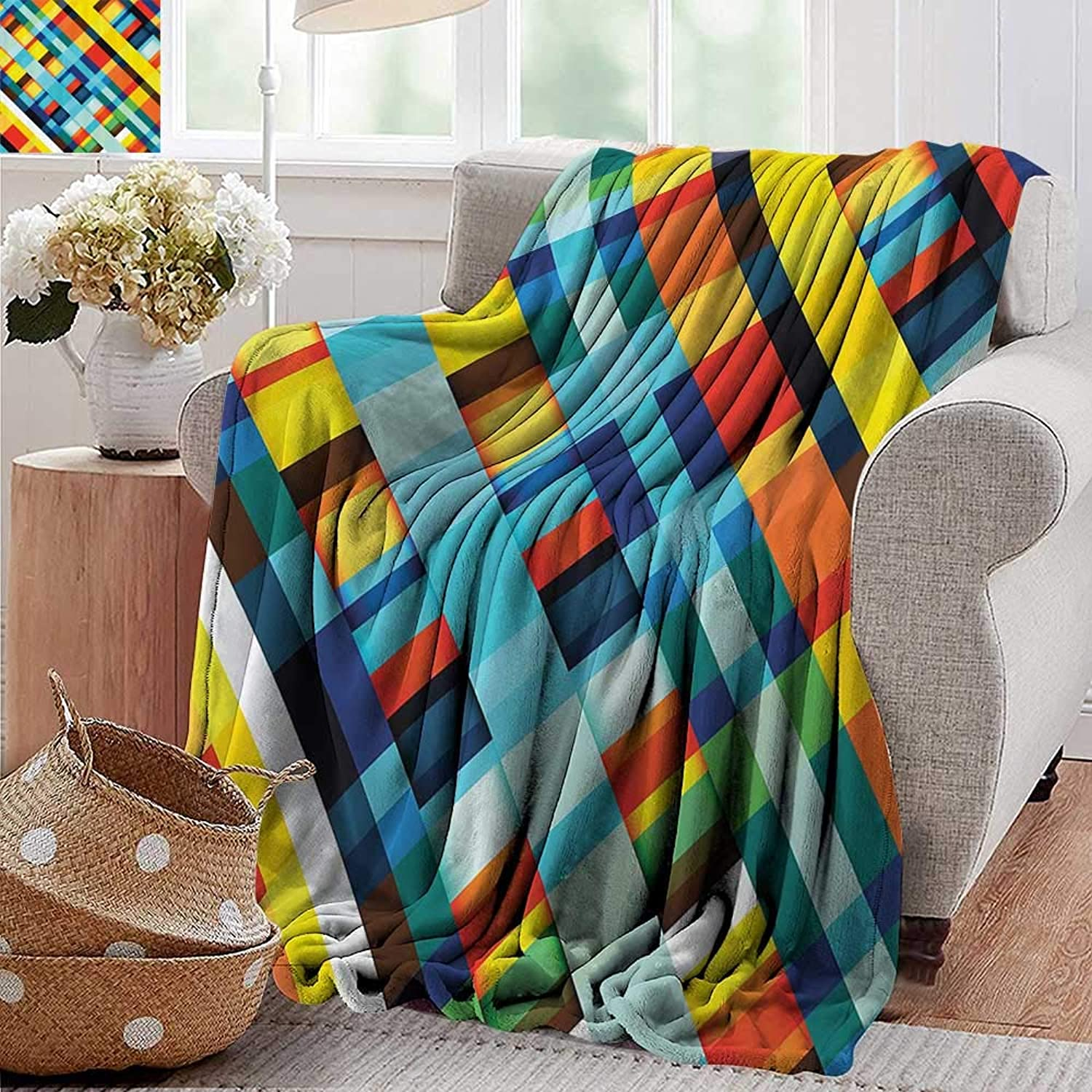 PearlRolan Weighted Blanket for Kids,colorful Home Decor,Vivid Lines Stripes with Diagonal Elements Retro Layout with Modern Touch,Multi,Weighted Blanket for Adults Kids, Better Deeper Sleep 50 x60