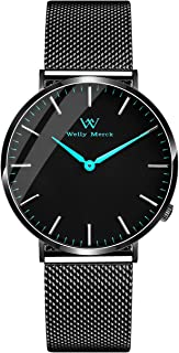 Welly Merck Black Watch Women Waterproof Minimalist Ultra Thin Simple Wrist Watch 36mm Stainless Steel Swiss Quartz Movement with Interchangeable Mesh Strap, Sapphire Crystal