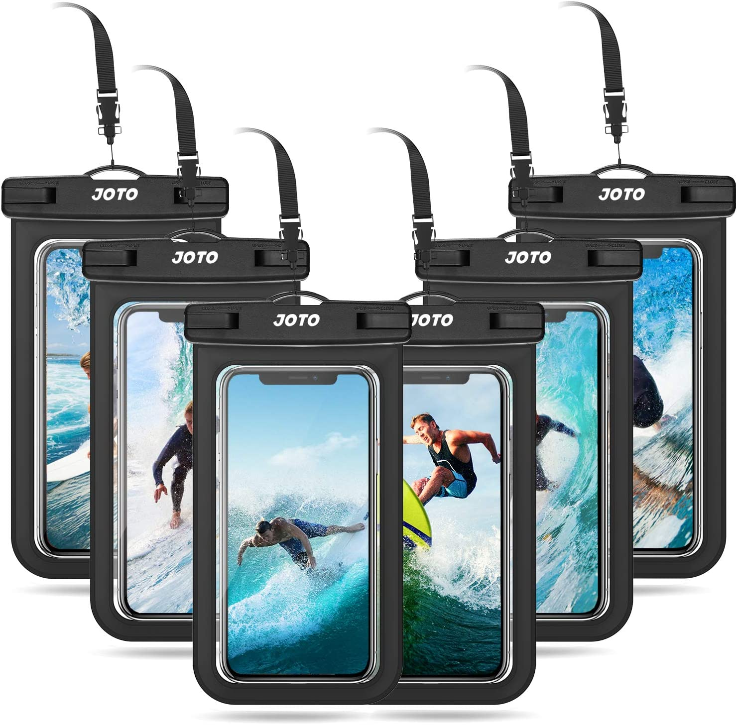 """JOTO Universal Waterproof Pouch Cellphone Dry Bag Case for iPhone 12 Pro Max 11 Pro Max Xs Max XR XS X 8 7 6S Plus, Galaxy S10 S9/S9 +/S8/S8 +/Note 10+ 10 9, Pixel 4 XL up to 6.8"""" -6 Pack, Black"""
