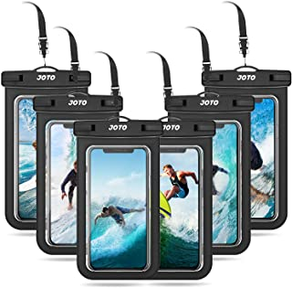 """JOTO Universal Waterproof Pouch Cellphone Dry Bag Case for iPhone 11 Pro Max Xs Max XR XS X 8 7 6S Plus, Galaxy S10 S9/S9 +/S8/S8 +/Note 10+ 10 9 8, Pixel 4 XL 3a 2 up to 6.8"""" -6 Pack, Black"""